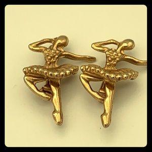 Vintage Ballerina Pins Brooch Set Of 2 GoldTone